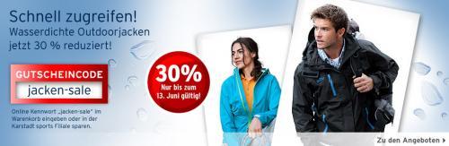 30% auf Outdoor Jacken bei Karstadt