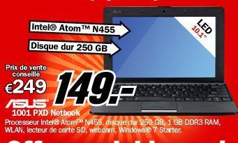[Belgien/ Brüssel]: ASUS Eee PC 1001PXD Netbook bei MediaMarkt - HEUTE!