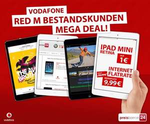 iPad Mini Retina 16GB + Cellular inkl. Vodafone Datenflat = 240,00 €
