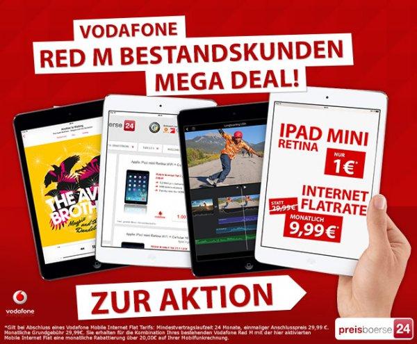 iPad mini Retina 16GB Wifi+Cellular inkl. Vodafone Internetflat - nur 270,75€ für Bestandskunden