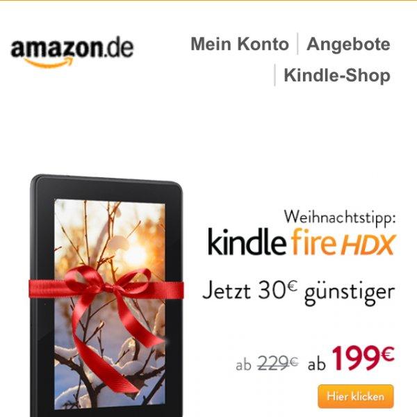 Kindle fire HDX 7 ab 199€ Preis reduziert um 30€