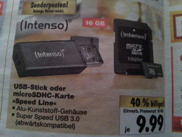 Intenso 16 GB USB Stick oder Micro SDHC - USB 3.0