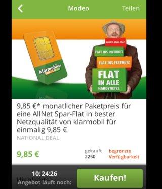 Allnetflat O2 Netz 9,85 über Groupon mit 500MB ,allerdings ohne SMS Flat,Upgrade auf 1000 MB für zzgl. 2,95 €/Monat möglich