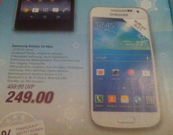 Samsung Galaxy S4 Mini weiß für 249,- [lokal Bielefeld Marktkauf]