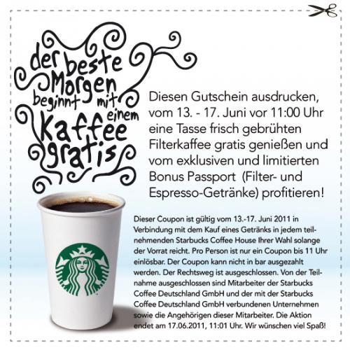 Gratis Tasse Kaffee bei Starbucks