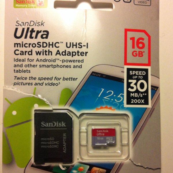 16GB sandisk microsdhc ULTRA 30MB/s