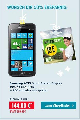 Samsung Ativ S + 15€ Vodafone-Guthaben (CallNow) für 144€ @phonehouse