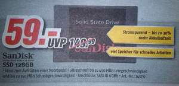 SanDisk SSD 128GB [lokal @ 115 MediMax Märkte]