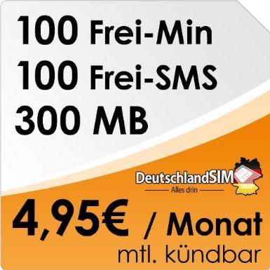 DeutschlandSIM SMART 100 [SIM und Micro-SIM] monatlich kündbar (300MB Daten-Flat, 100 Frei-Minuten, 100 Frei-SMS, 4,95 Euro/Monat, 15ct