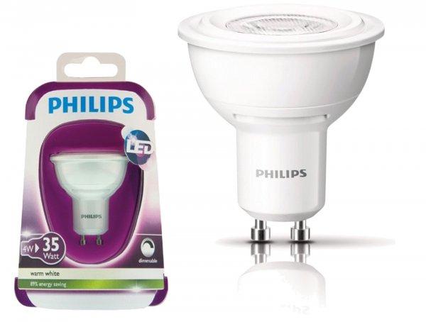 Philips LED Spot GU10 dimmbar 4 Watt warmweiß 12,64€/Stk. bei 6 Stück (Freihaus ab 75€ und 2% Rabatt)