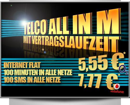 Internetflat + 100 Minuten  & 100 SMS für 5,55€ (o2-Netz) oder 7,77€ (Vodafone) oder ohne Laufzeit für 9,95€ (1x Grundpreis frei)