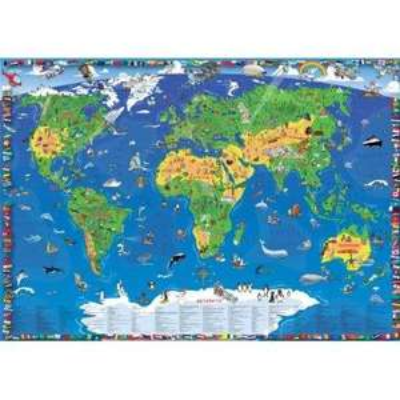 XXXL 1,95 Meter - Sonder Edition - Kinder Weltkarte für jedes Kinderzimmer