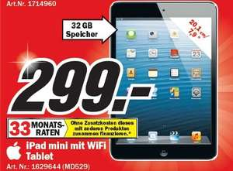 [LOKAL] Media Markt Hamburg - Ipad Mini 32GB Wifi VK299,-€
