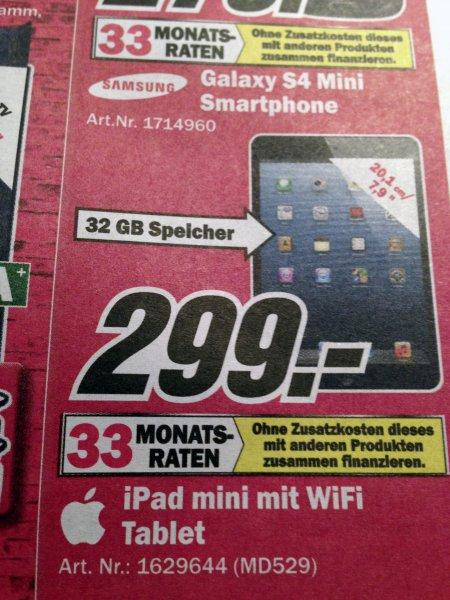 iPad Mini (ohne Retina!) 32 GB für 299 Euro Media Markt Hamburg