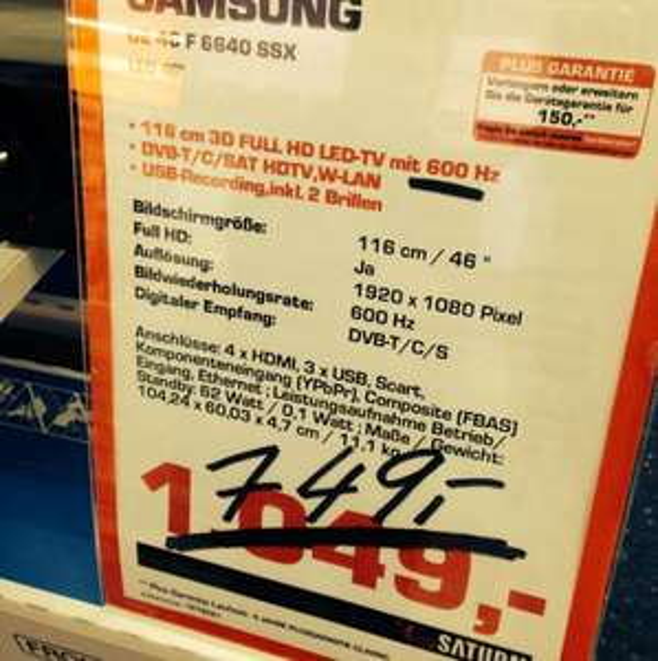 Lokal Saturn Delmenhorst Samsung ue 46 f6640 ssx 749€