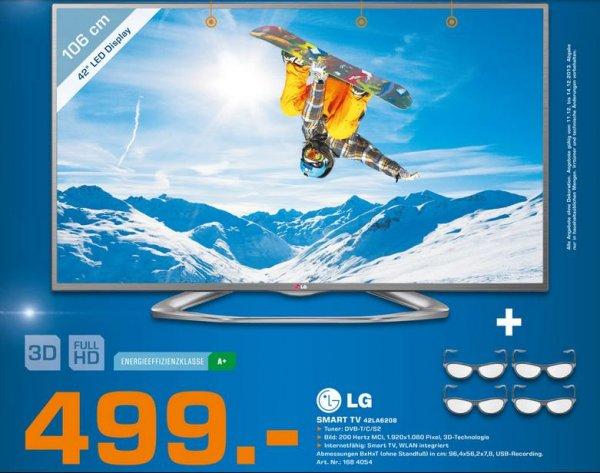 """[Saturn] LG 42LA6208 für 499€ - 42"""" 3D-Direct-LED Fernseher, EEK A+, Full HD, 200Hz, DVB-T/C/S2, CI+, WLAN. Smart TV, HbbTV, Sprachsteuerung"""