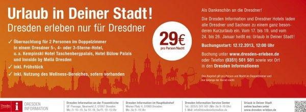 Übernachtung Luxushotel Dresden/ 17-19.01; 24.-26.01/ 2 Personen/ 2 Nächte + Frühstück 116€