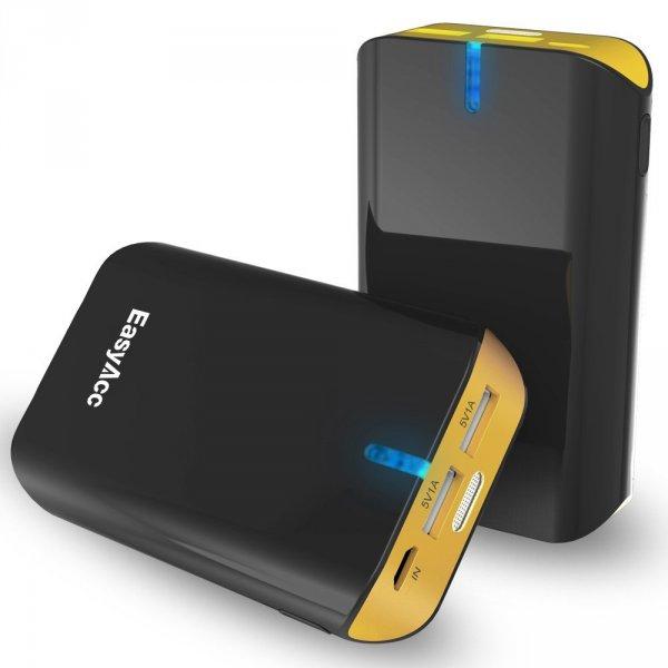 Nur heute: EasyAcc® 8400mAh Tragbarer Ladegerät mit LED Taschenlampe 2 x USB Externer Akku Pack für 15,99€