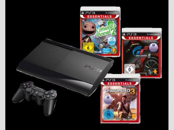 [Media-Markt] Playstation 3 (PS3) Super Slim 12GB incl. Gran Turismo 5 + Little Big Planet 2 + Uncharted 3: Drake's Deception
