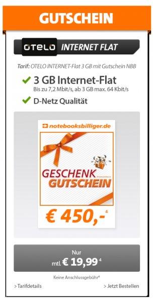 Otelo (D-Netz) 3 GB Internetflat - Notebooksbilliger.de