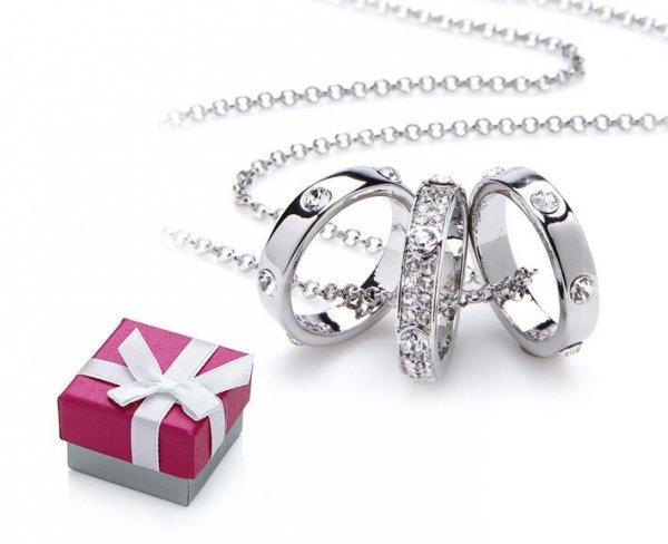 Collier mit 3 Swarovski Elements Ringen