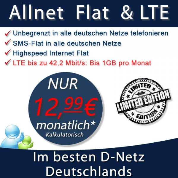 Allnet Flat & LTE für nur 12.99  € monatlich Vodafone Keine Anschlussgebühr