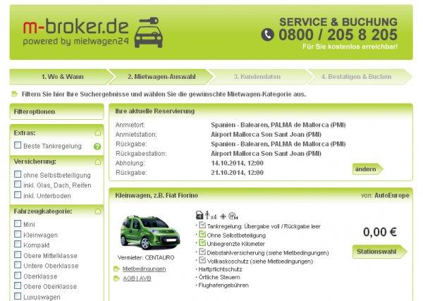 Mietwagen in Spanien kostenlos [m-broker.de]