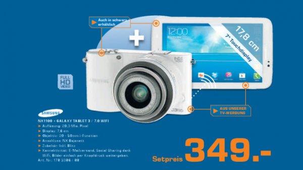 Systemkamera Samsung NX 1100 + Samsung Galaxy Tab 3 7,0 für 349€