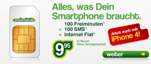 100 SMS, 100 Minuten, Internetflat (ab 200mb Drosselung), Ohne Vertragslaufzeit: 9,95€