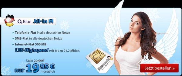 O2 Netz Allnet + SMS Flat + 500MB LTE Flat Deutschlandsim nur bis zum 16.12