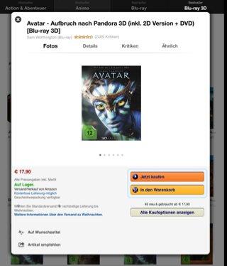 Avatar - Aufbruch nach Pandora 3D (inkl. 2D Version + DVD) [Blu-ray 3D] bei amazon.de für 17,90€