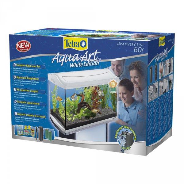 60 Liter Aquarium Tetra AquaArt  (White Edition) [inkl. Filterpumpe, Heizstab, Leuchte, Dünger, Wasseraufbereiter]