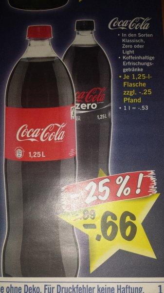 LIDL ab Mo 16.12: Coca Cola, Cola Zero, Cola Light für 0,66€ pro 1.25Liter