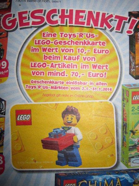 [Toys'R'Us] 10€ Geschenkkarte GRATIS beim Kauf von LEGO-Artikeln im Wert von mind. 70€ (19.12-22.12.2013)