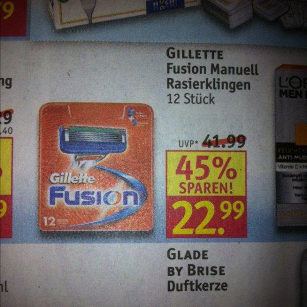 Ab Montag bei Rossmann 12er Gillette Fusion Rasierklingen