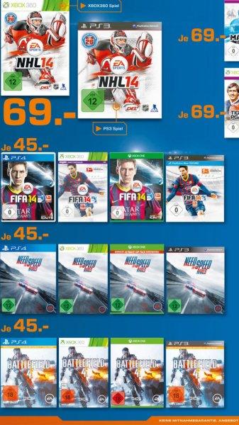 Saturn Lokal Fifa 14, Battlefield 4, Need for Speed Rivals für die Ps4 Ps3 Xbox One und Xbox 360