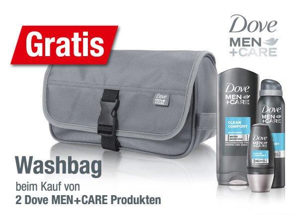 Beim Kauf von 2 Dove Men+Care Artikeln eine Kulturtasche gratis dazu