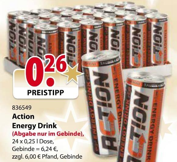 [Lokal] 24x Action Energy Drink im SB-Zentralmarkt (Münster, Osnabrück, Limburg) für 6,68 zzgl. Pfand