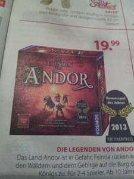 [@ Müller Filiale] Die Legenden von Andor - Kennerspiel 2013 für 19,99 EUR ab dem 16.12.