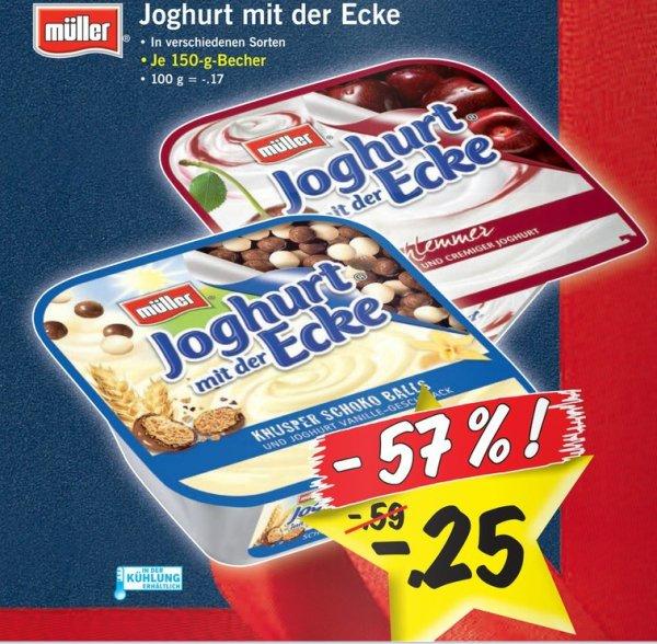 [LIDL bundesweit] Müller Joghurt mit der Ecke für 25 Cent, ab Donnerstag, 19.12