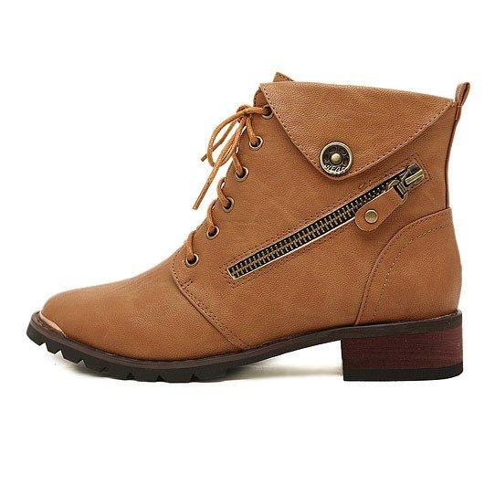 Damen Boots Stiefel Reißverschluss in Braun/Schwarz für 27,24€ statt 38,24€