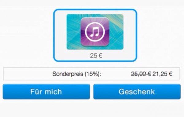 PayPal verkauft iTunes-Guthaben online mit 15% Rabatt! 25€ Guthaben für 21,25€ kaufen