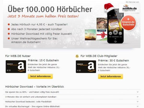 Audible 3 Monats-Abo für 14,85€, dazu 15€-Amazon-Gutschein, effektiv 0,15€ Gewinn!
