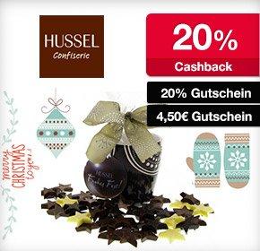 HUSSEL Confiserie: 20% Cashback + 20% Gutschein oder 4,50€ Gutschein