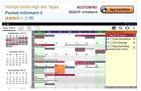Nur heute kostenlos im Amazon App Shop: Pocket Informant 3 Vollversion  (regulärer Playstorepreis: 7.35€)