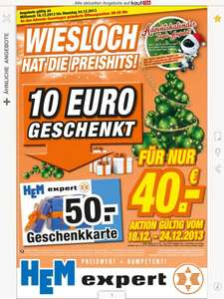 Hem Expert Wiesloch (und andere ?) wieder 50€ Gutscheine für 40€ zu kaufen ab heute 18.12