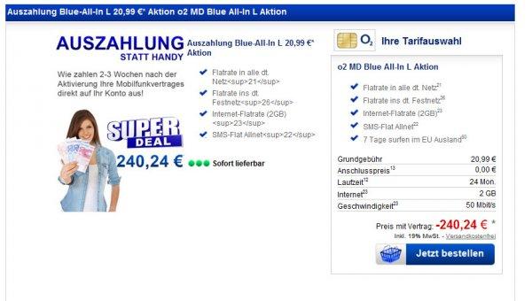 O2 Blue-All-In L 20,99 €* Aktion von DEBITEL