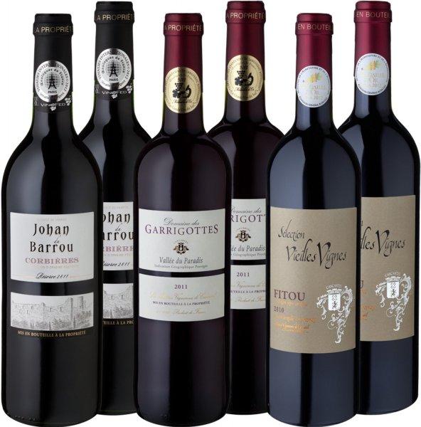 """Meevio Rotweinpaket """"Medaillen-Abräumer Südfrankreich"""", 6 Flaschen (6 x 0.75 l) @amazon.de für 10,20€"""
