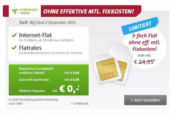 Internet-, O2- und Festnetzflat für 0€ @ Sparhandy