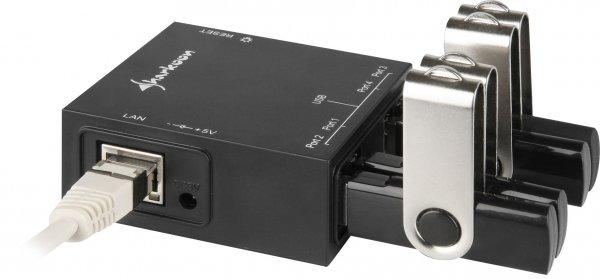 Sharkoon USB Lanport 400 4-Port USB Server mit LAN Gigabit NDAS